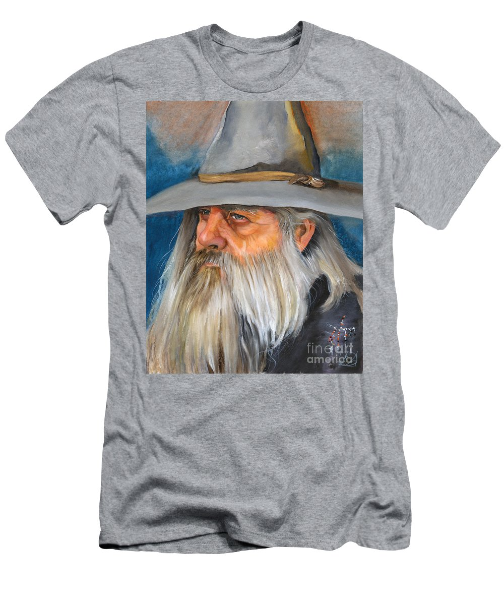 Wizard Men's T-Shirt (Athletic Fit) featuring the painting Grey Days by J W Baker