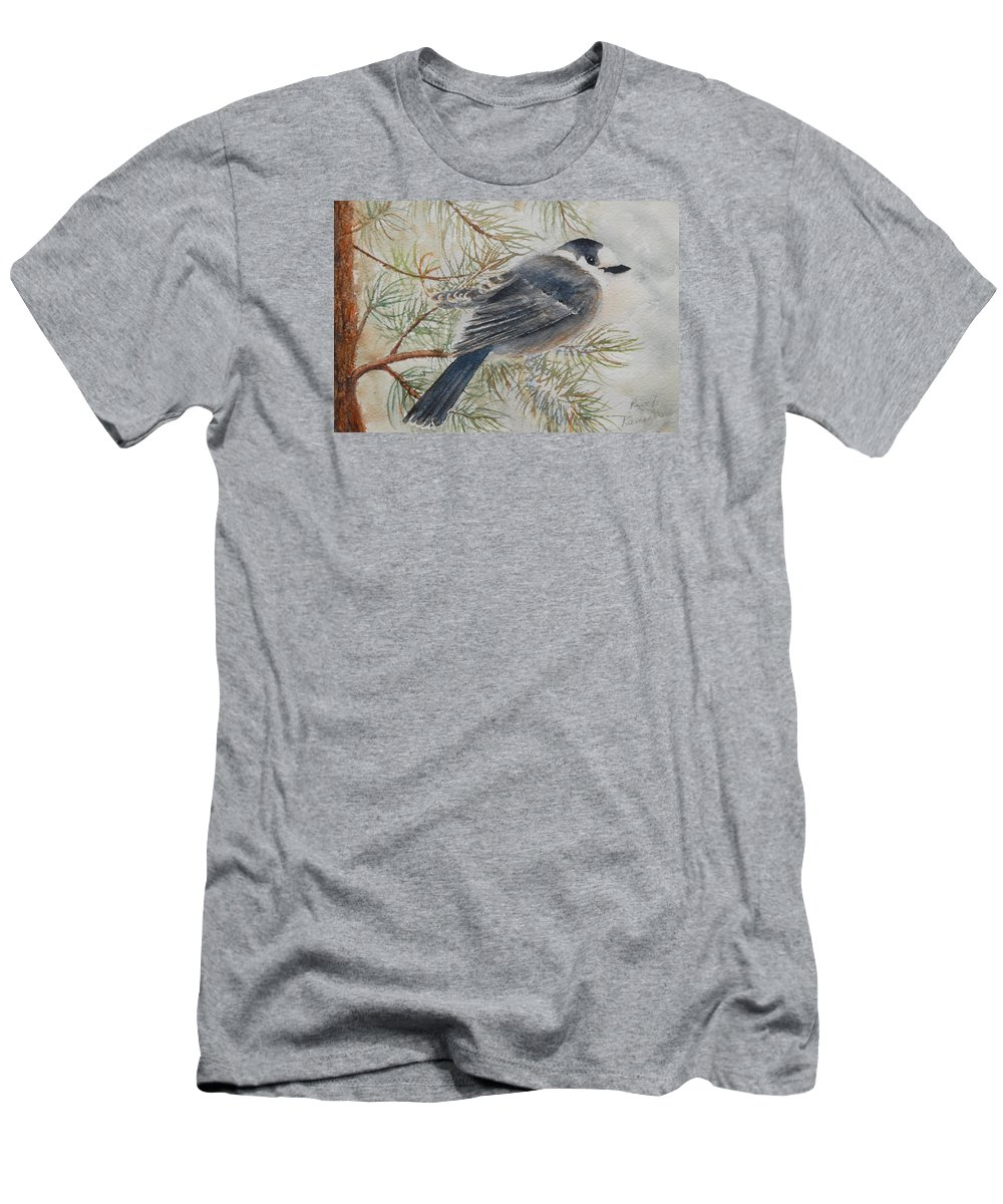 Bird Men's T-Shirt (Athletic Fit) featuring the painting Grey Jay by Ruth Kamenev