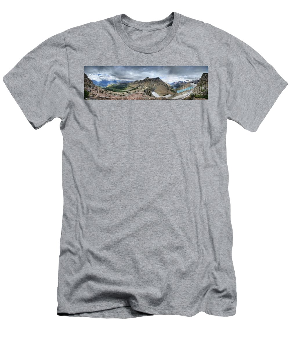 Glacier National Park Men's T-Shirt (Athletic Fit) featuring the photograph Grinnell Glacier Overlook Panorama - Glacier National Park by Bruce Lemons