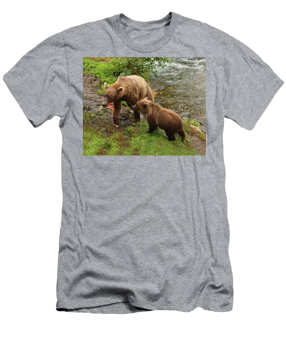 Grizzly Men's T-Shirt (Athletic Fit) featuring the photograph Grizzly Dinner For Two by Herbert L Fields Jr