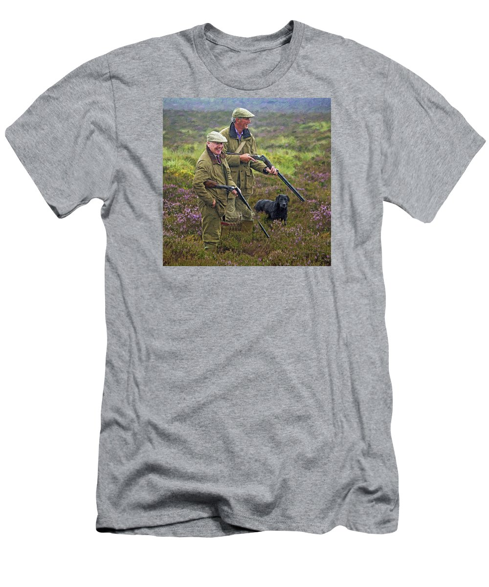 Scotland Men's T-Shirt (Athletic Fit) featuring the painting Grousing Scotland Nbr 1 by Will Barger