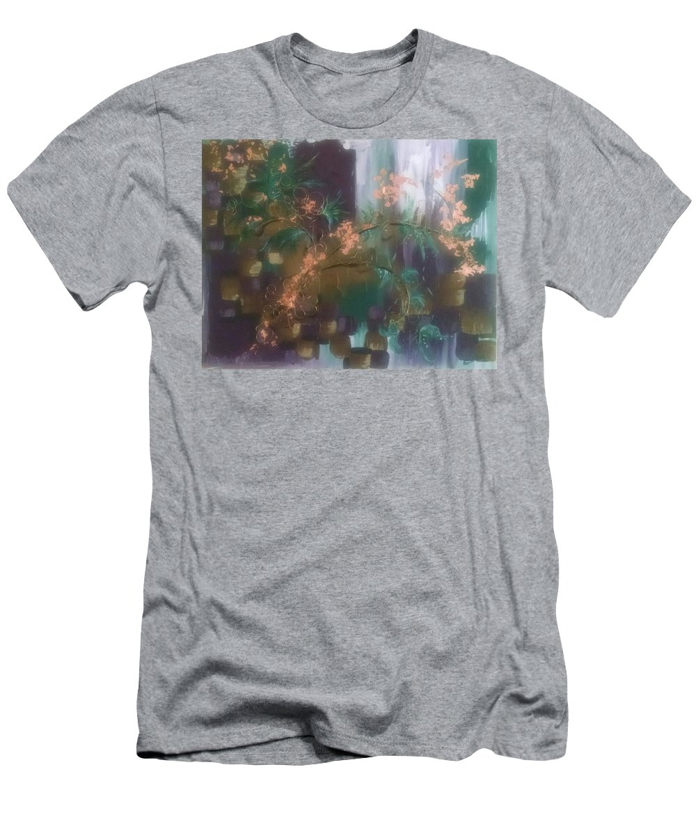 Trees Men's T-Shirt (Athletic Fit) featuring the mixed media Growing In Layers by Sandra Belz