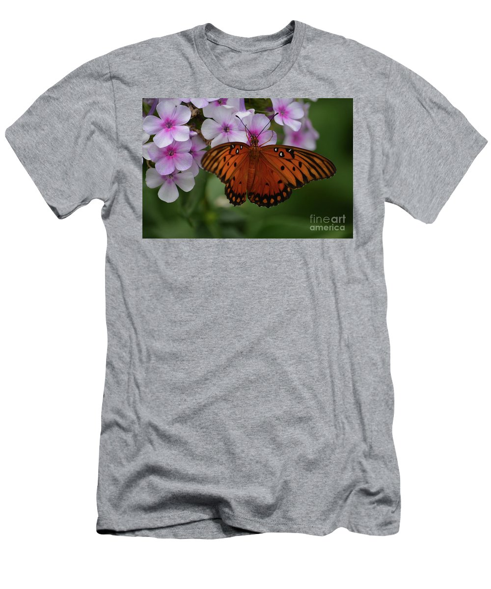 Gulf Fritillary Prints Men's T-Shirt (Athletic Fit) featuring the photograph Gulf Fritillary by Ruth Housley