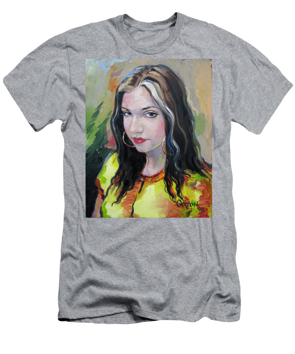 Gypsy Men's T-Shirt (Athletic Fit) featuring the painting Gypsy Girl by Jerrold Carton