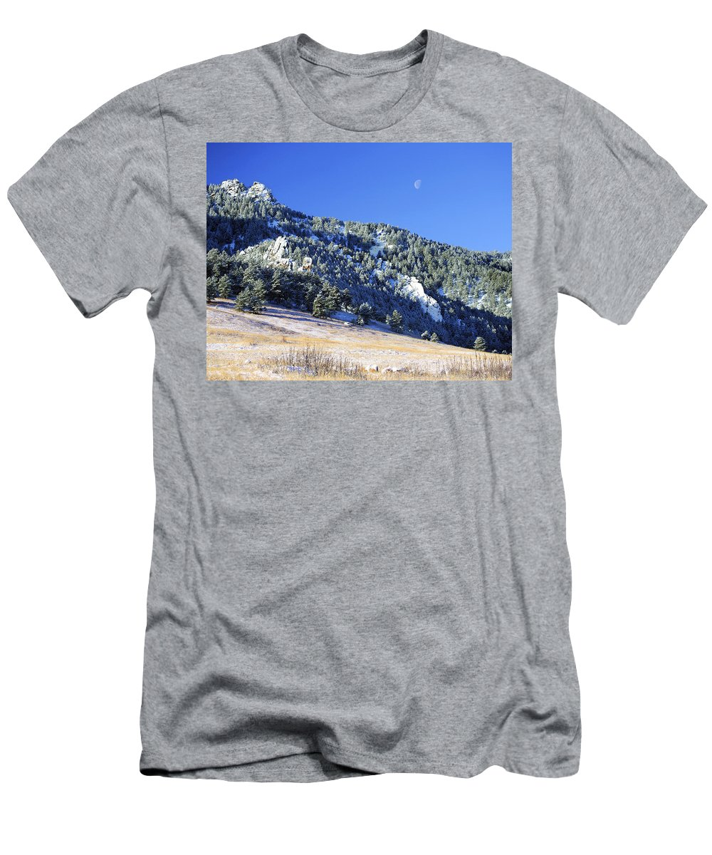 Nature Men's T-Shirt (Athletic Fit) featuring the photograph Half Moon Over The Flatirons by Marilyn Hunt