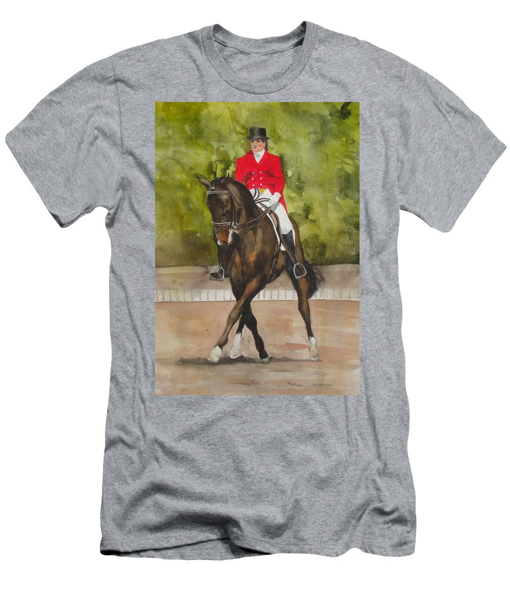 Horse T-Shirt featuring the painting Half-Pass To The Right by Jean Blackmer
