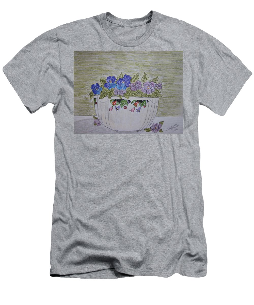 Hall China Men's T-Shirt (Athletic Fit) featuring the painting Hall China Crocus Bowl With Violets by Kathy Marrs Chandler