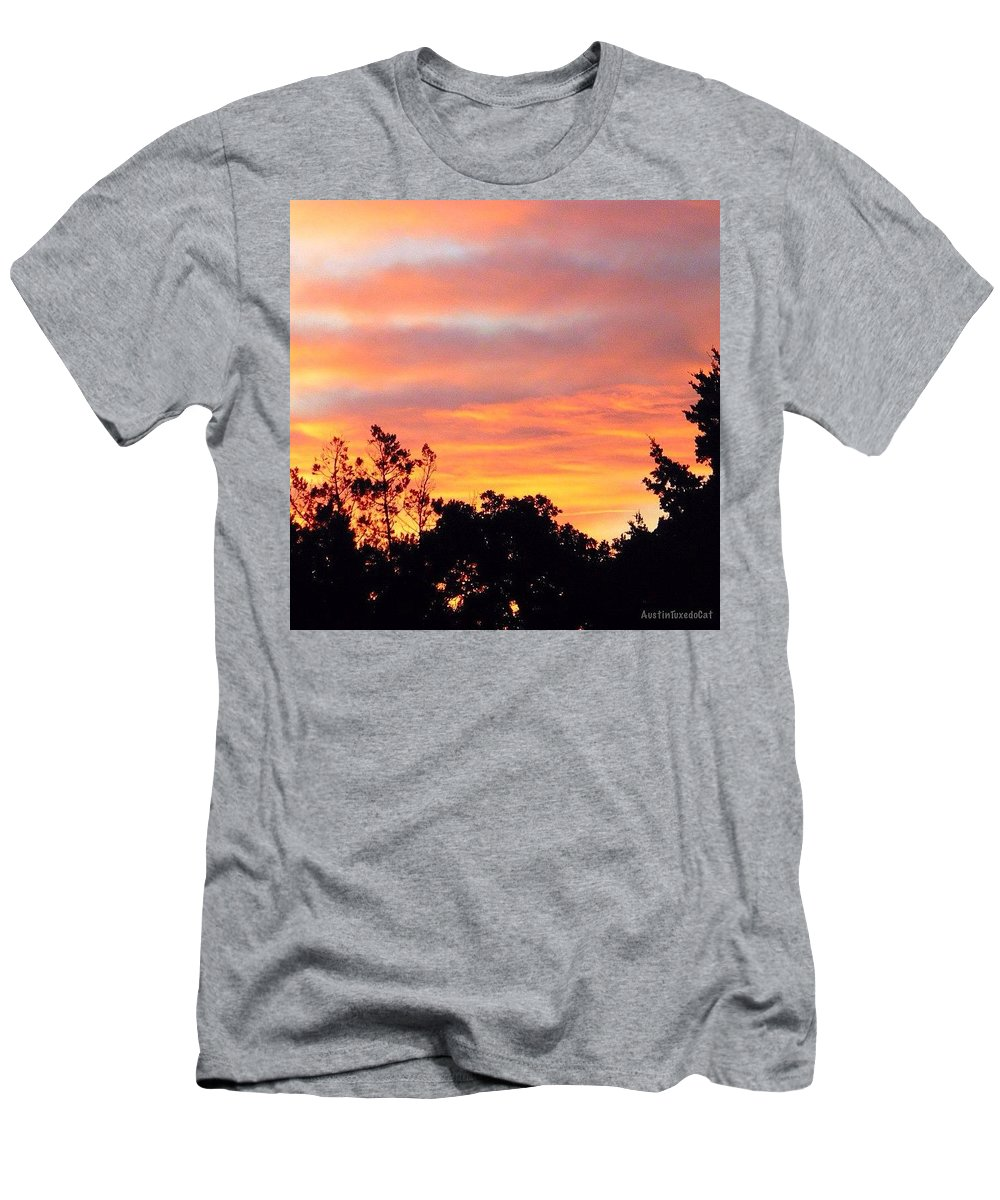 Beautiful Men's T-Shirt (Athletic Fit) featuring the photograph #halloween #morning #sky Is On #fire by Austin Tuxedo Cat