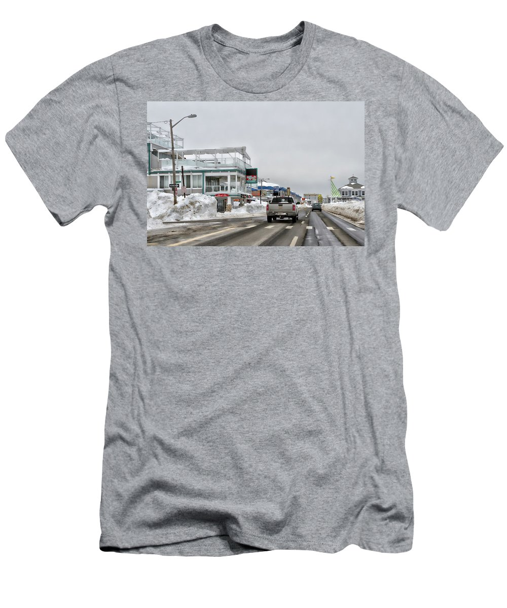 Hampton Beach Nh Photo Men's T-Shirt (Athletic Fit) featuring the photograph Hampton Beach Nh After The Storm by Larry Richardson