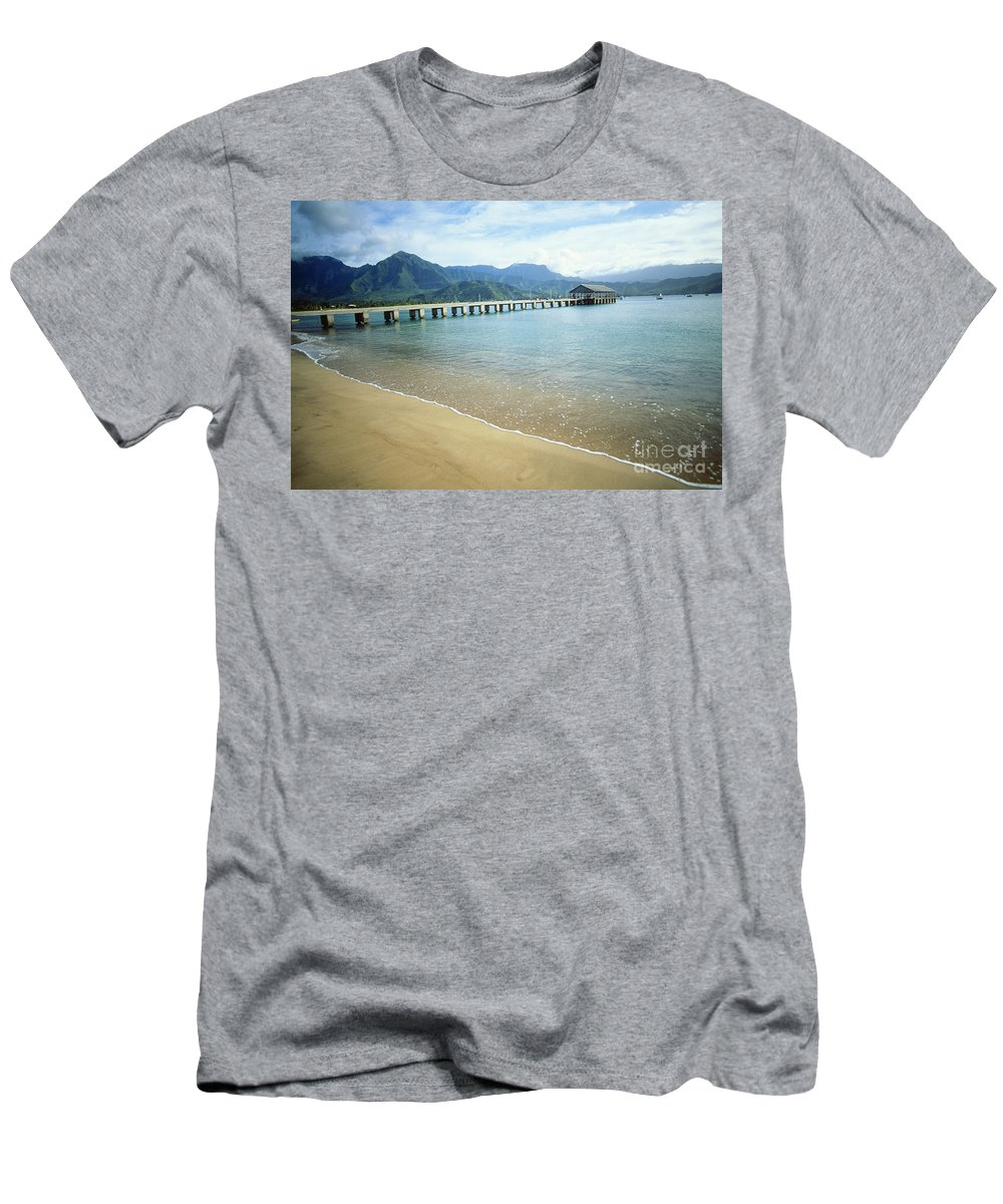 Bali Hai Men's T-Shirt (Athletic Fit) featuring the photograph Hanalei Bay And Pier by Peter French - Printscapes