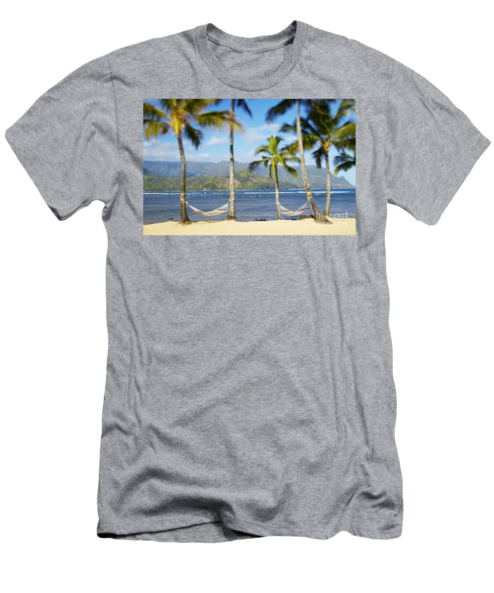Bay Men's T-Shirt (Athletic Fit) featuring the photograph Hanalei Bay, Hammock by Kyle Rothenborg - Printscapes