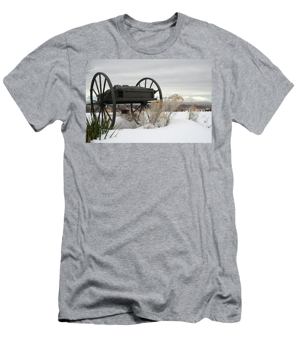 Handcart Men's T-Shirt (Athletic Fit) featuring the photograph Handcart Monument by Margie Wildblood