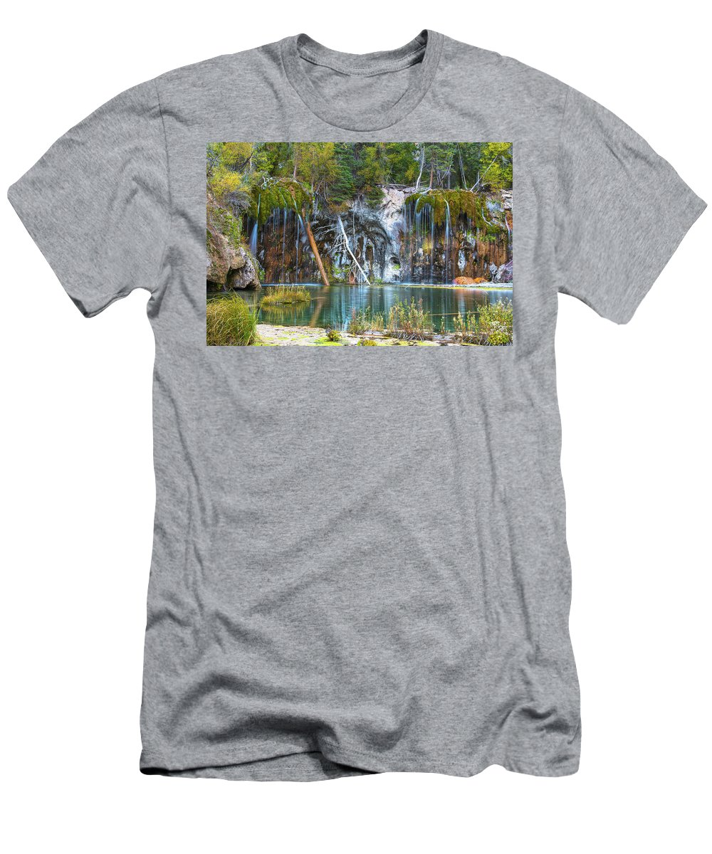 Hanging Lake Men's T-Shirt (Athletic Fit) featuring the photograph Hanging Lake by Eric Jahn