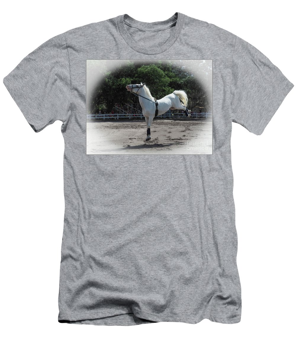 Royal Lipizzaner Stallion Men's T-Shirt (Athletic Fit) featuring the photograph Happy Horse by Madlyn Blom