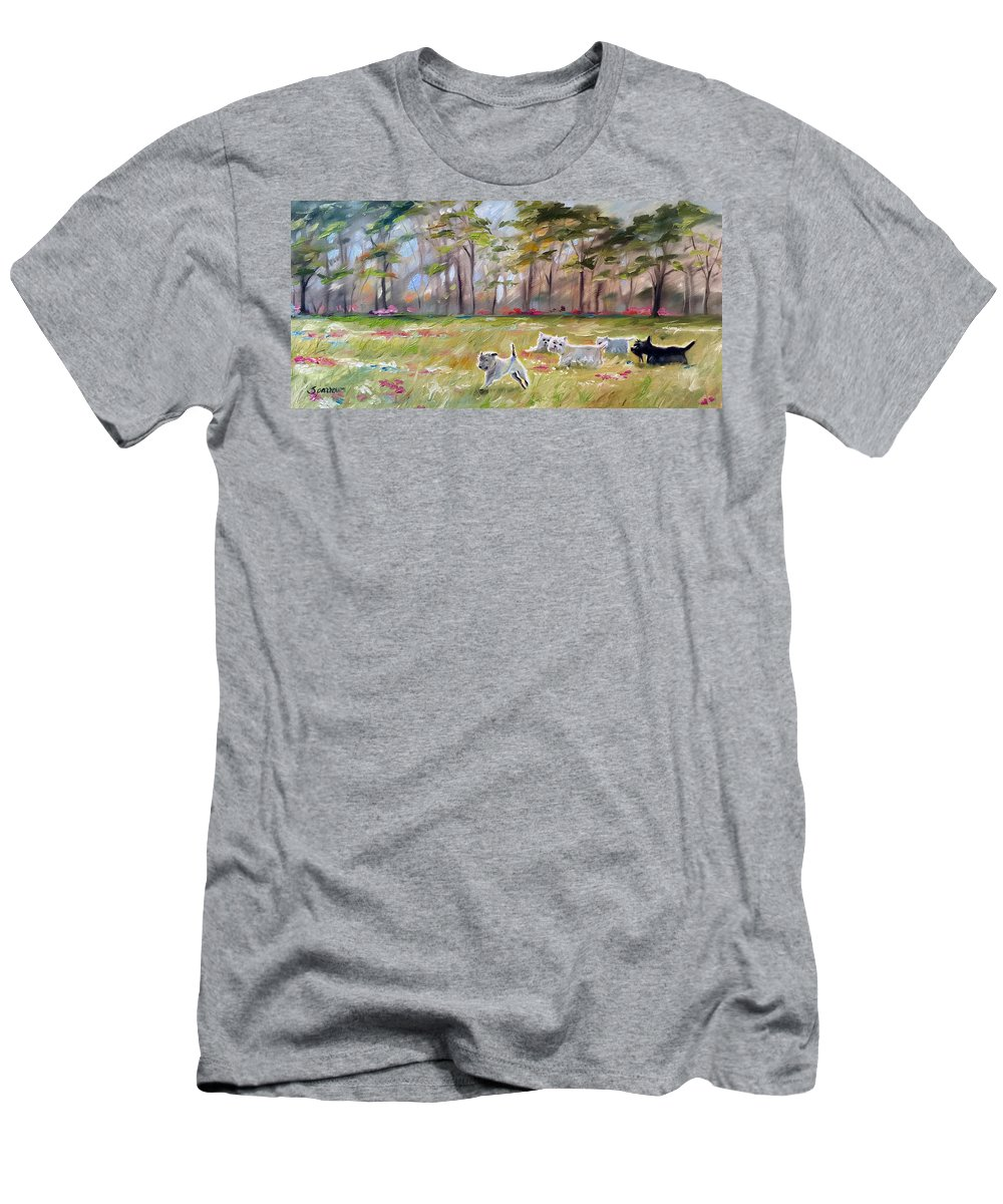 Landscape Men's T-Shirt (Athletic Fit) featuring the painting Happy Wanderers by Mary Sparrow