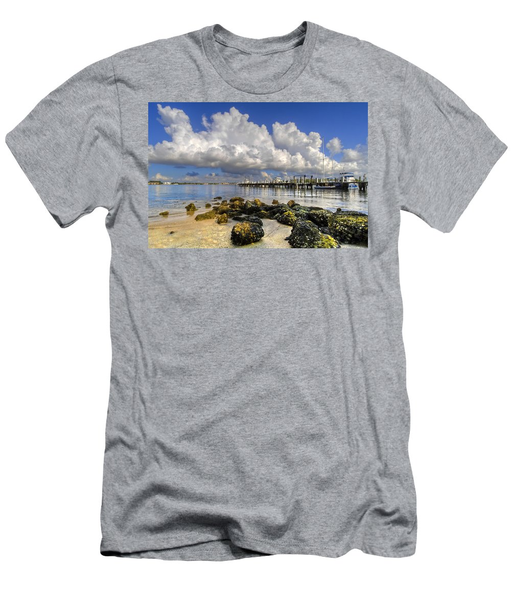Boats Men's T-Shirt (Athletic Fit) featuring the photograph Harbor Clouds At Boynton Beach Inlet by Debra and Dave Vanderlaan