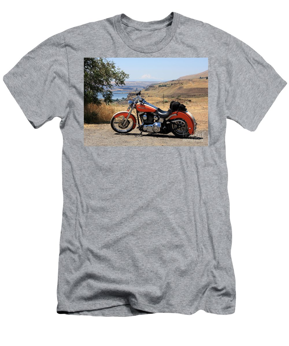 Washington State Men's T-Shirt (Athletic Fit) featuring the photograph Harley With Columbia River And Mt Hood by Carol Groenen