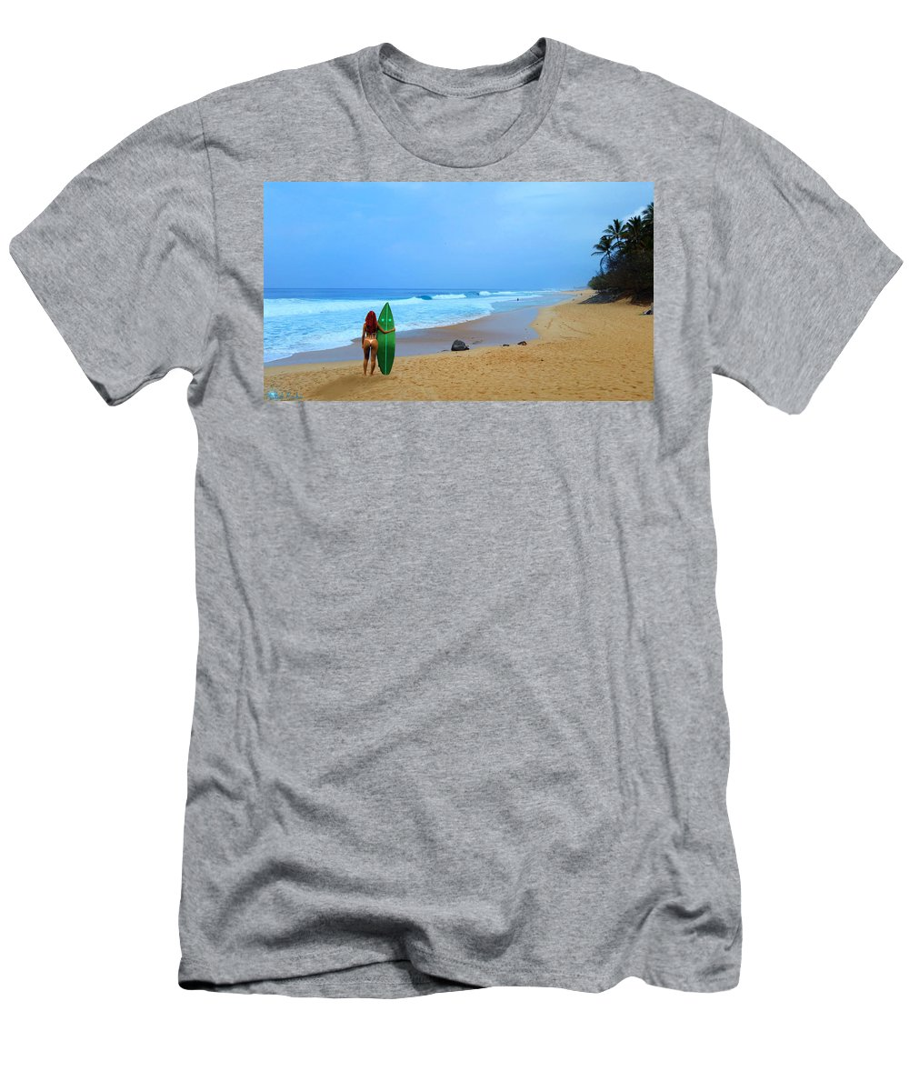 Oahu Men's T-Shirt (Athletic Fit) featuring the photograph Hawaiian Surfer Girl by Michael Rucker
