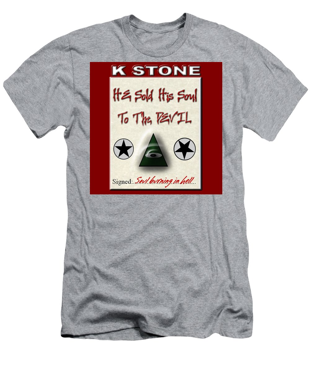Sold Soul Men's T-Shirt (Athletic Fit) featuring the digital art He Sold His Soul To The Devil by K STONE UK Music Producer