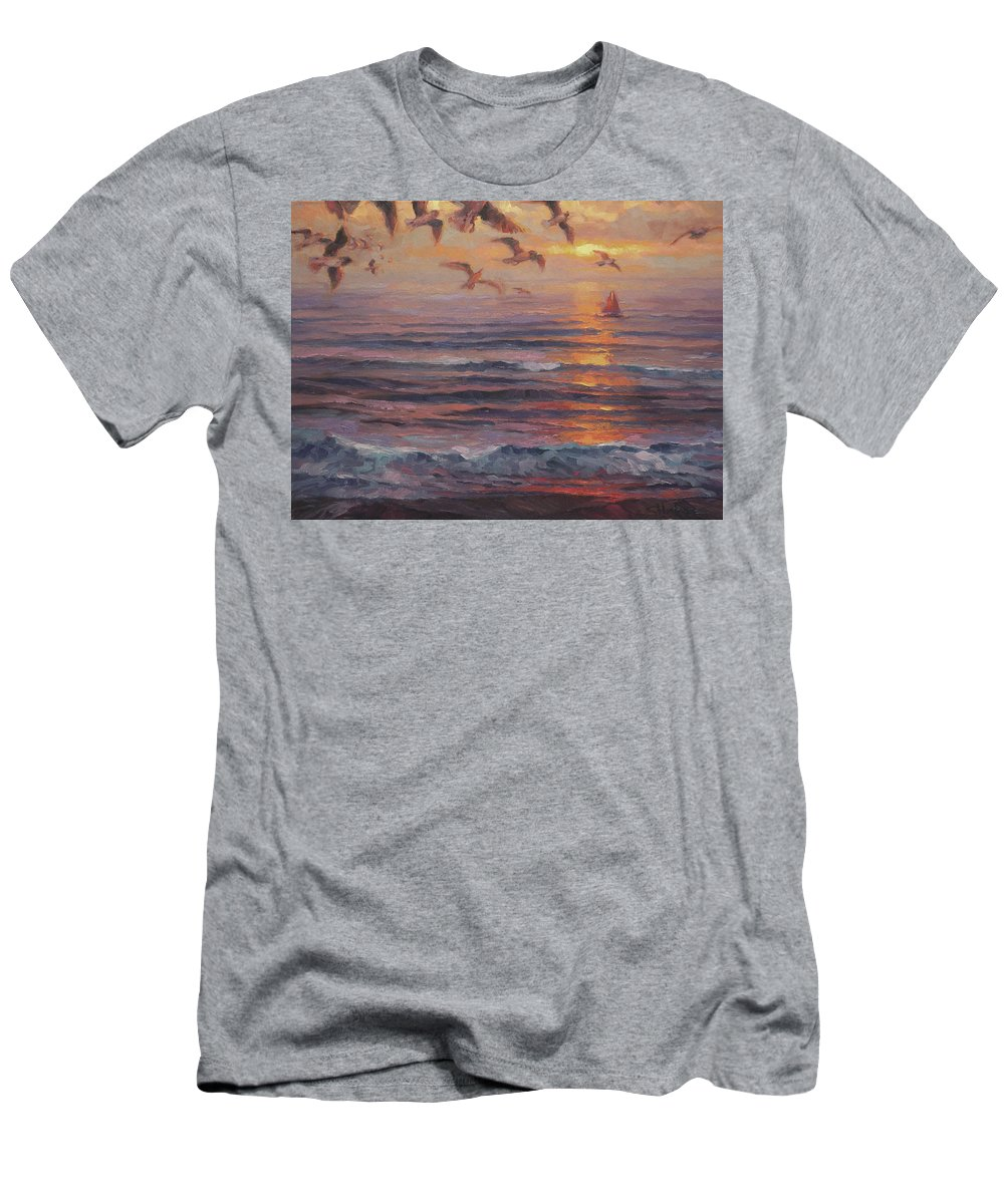Coast Men's T-Shirt (Athletic Fit) featuring the painting Heading Home by Steve Henderson