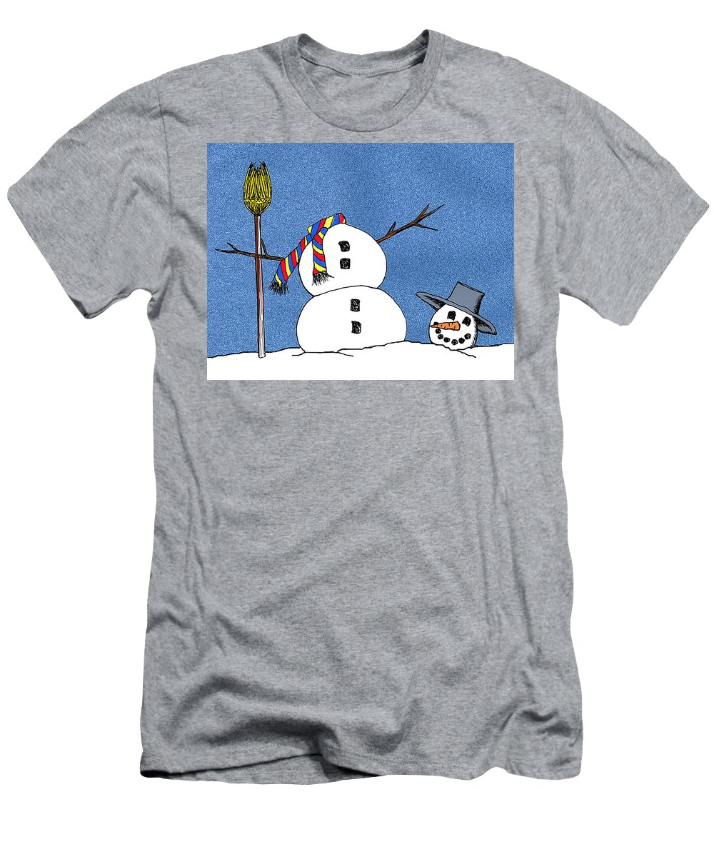 Snowman Men's T-Shirt (Athletic Fit) featuring the digital art Headless Snowman by Nancy Mueller
