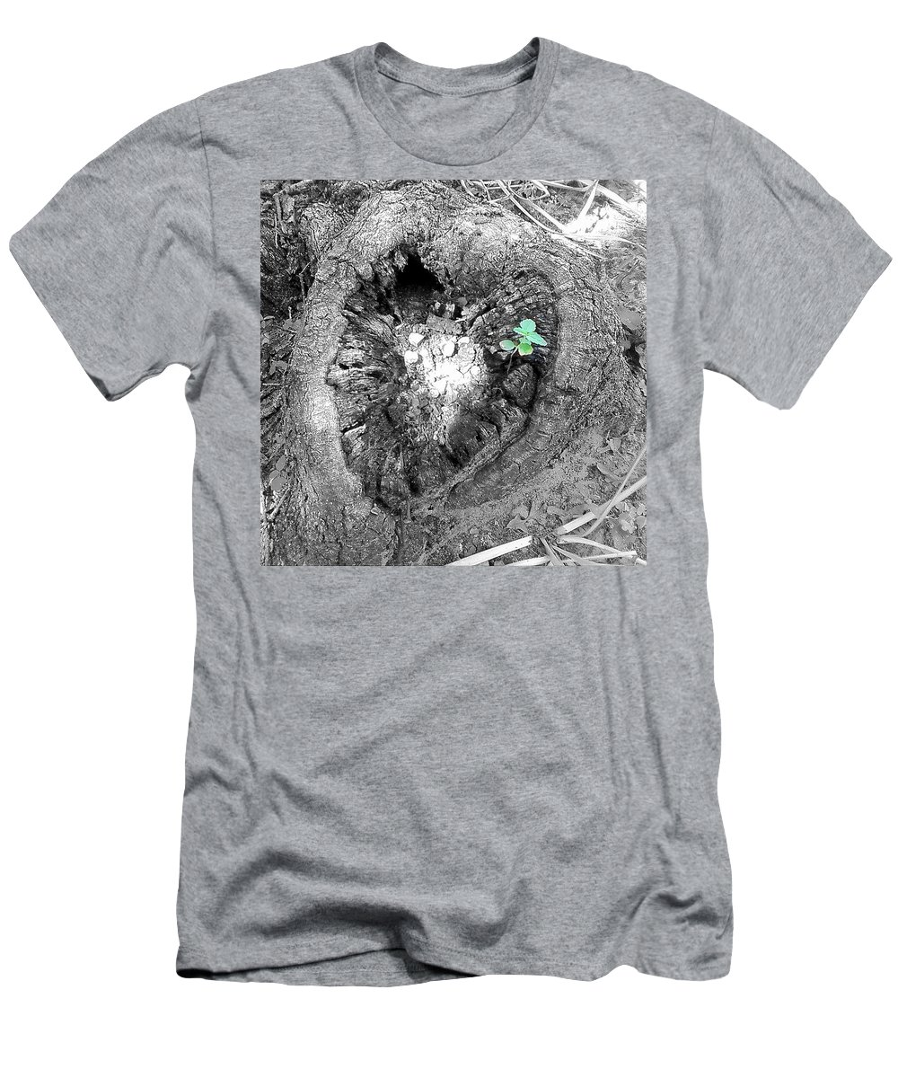 Tree Heart Wood Men's T-Shirt (Athletic Fit) featuring the photograph Heart Of A Tree 2 by Cindy New