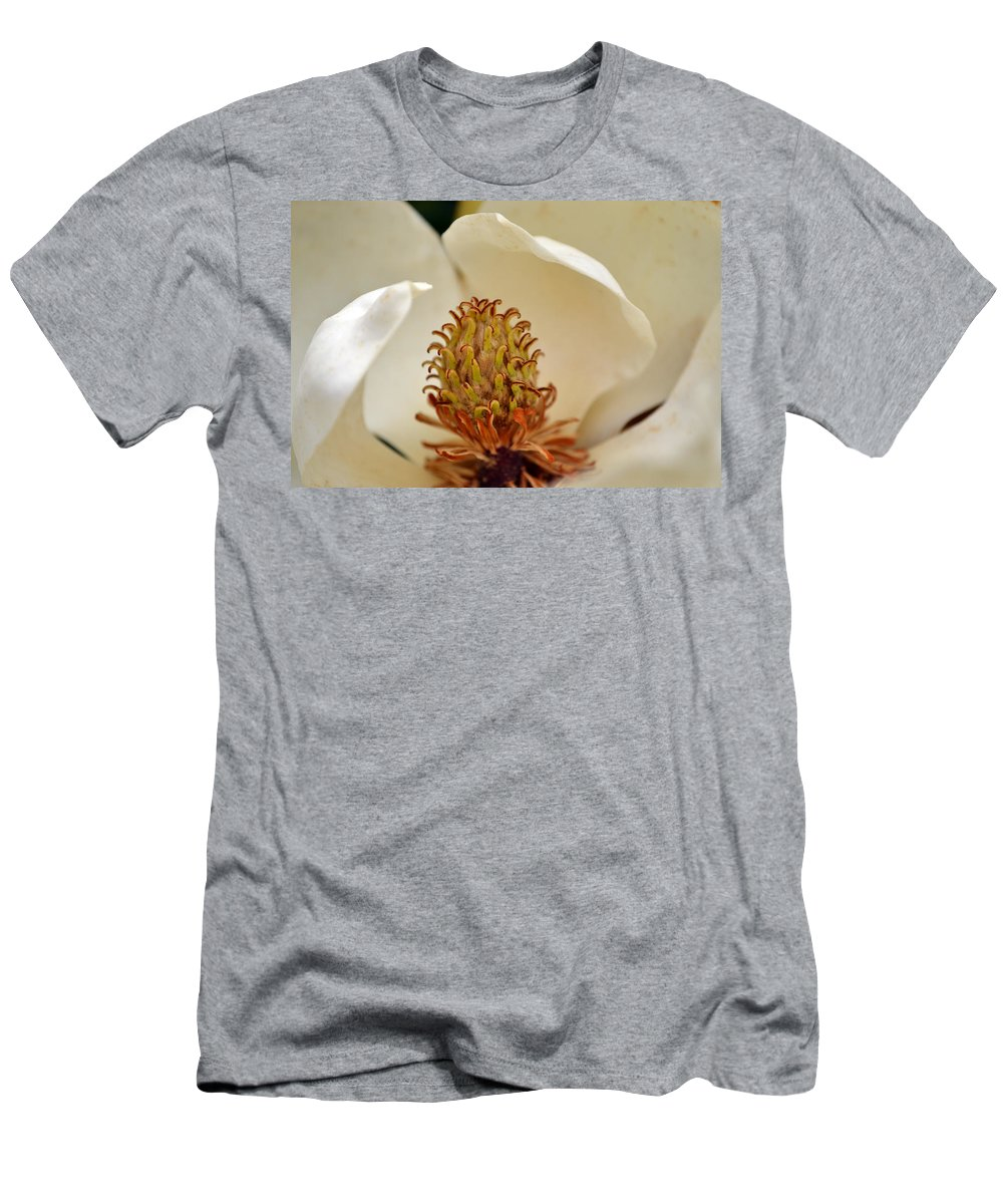 Magnolia Men's T-Shirt (Athletic Fit) featuring the photograph Heart Of Magnolia by Larry Bishop