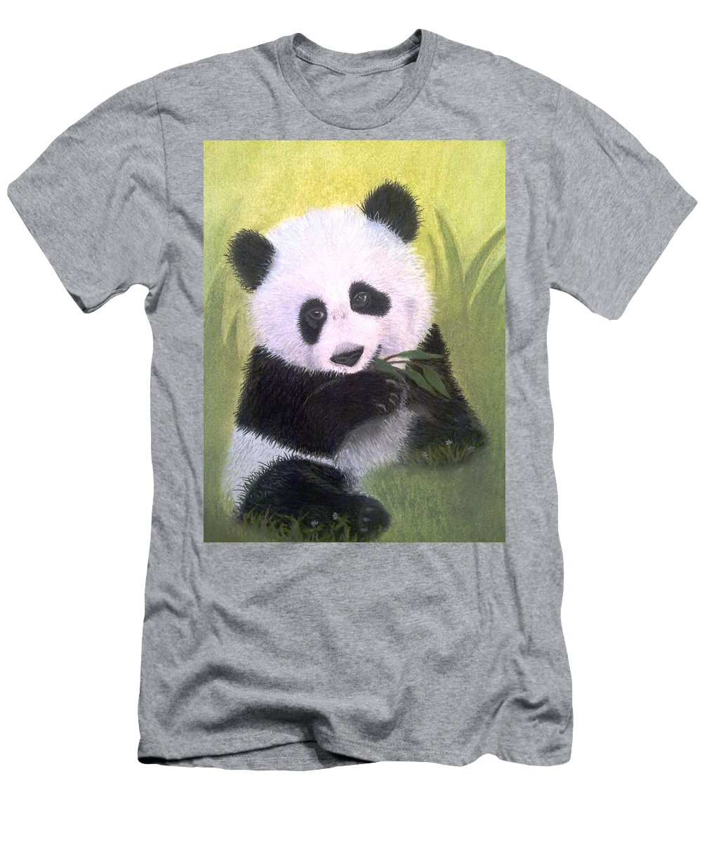 Giant Panda Men's T-Shirt (Athletic Fit) featuring the painting Heartbreaker by Rosanna Maria
