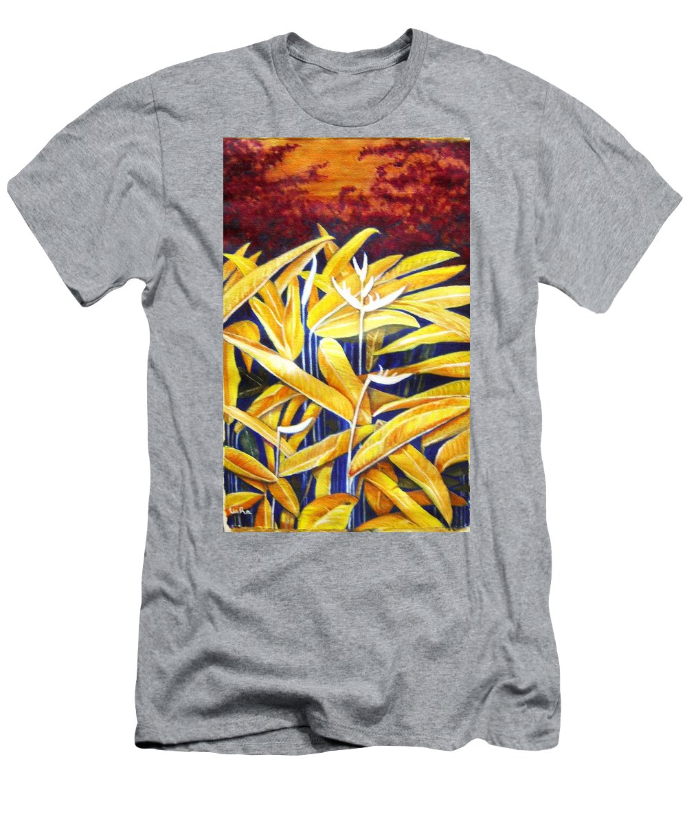 Heliconia Men's T-Shirt (Athletic Fit) featuring the painting Heliconia by Usha Shantharam