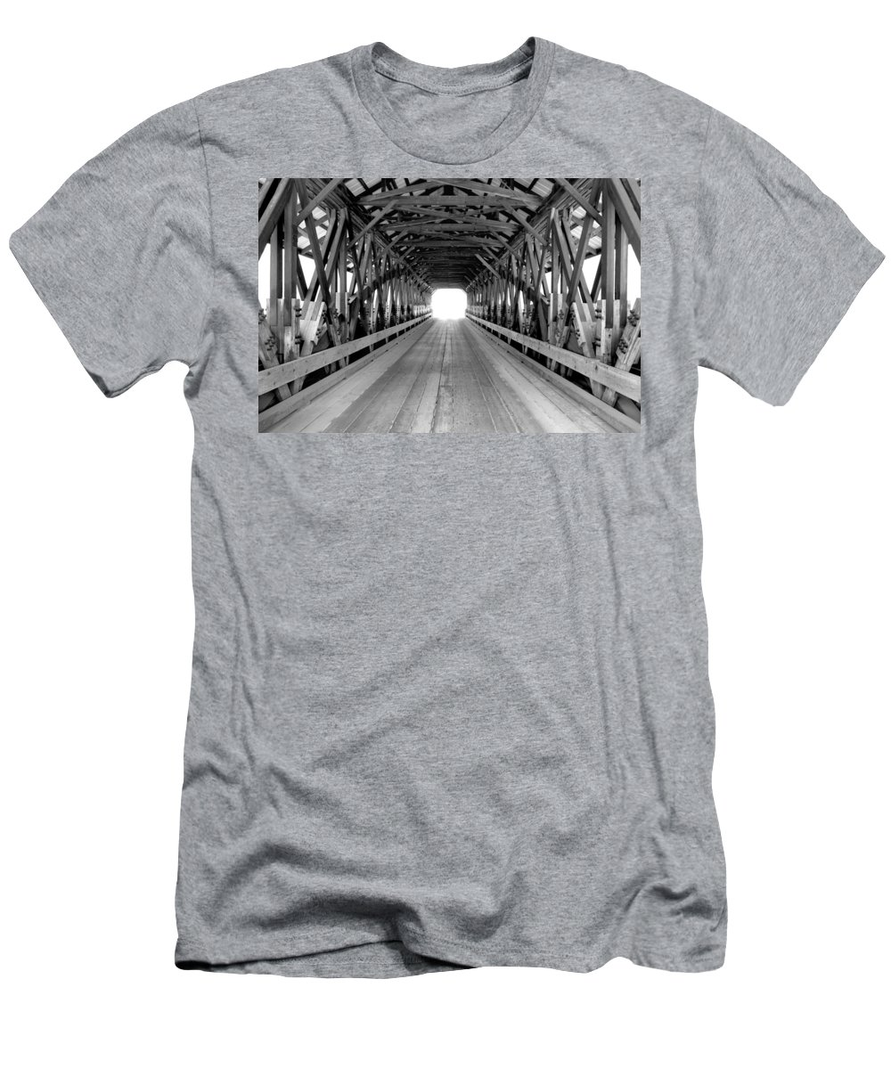 Henniker Men's T-Shirt (Athletic Fit) featuring the photograph Henniker Covered Bridge by Greg Fortier