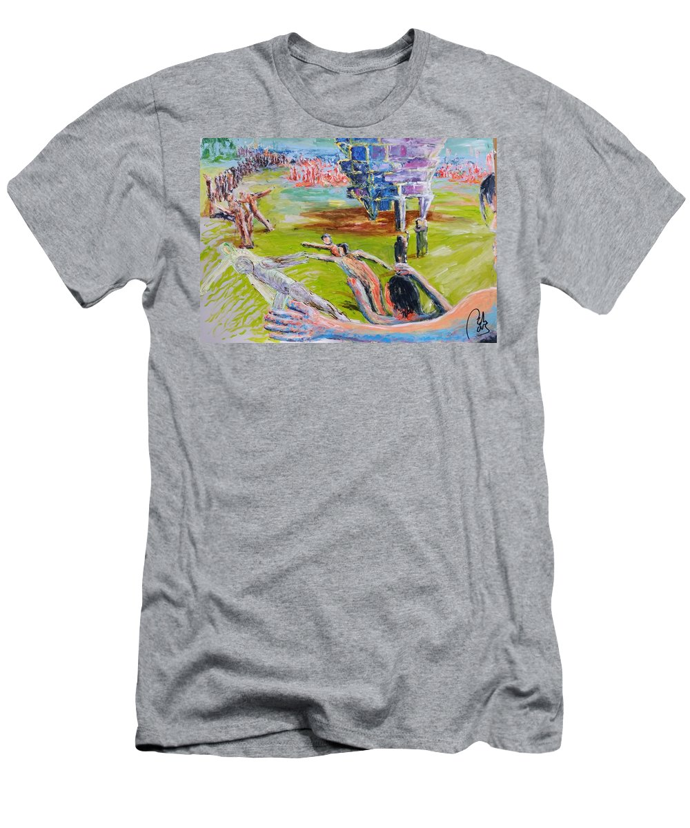 Process Men's T-Shirt (Athletic Fit) featuring the painting Her Recreations by Bachmors Artist