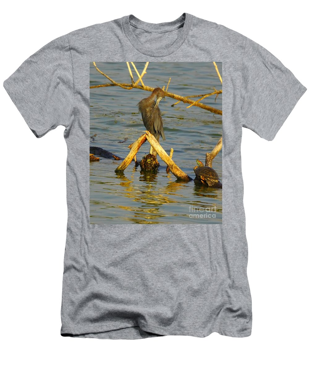 Nature Men's T-Shirt (Athletic Fit) featuring the photograph Heron And Turtle by Robert Frederick