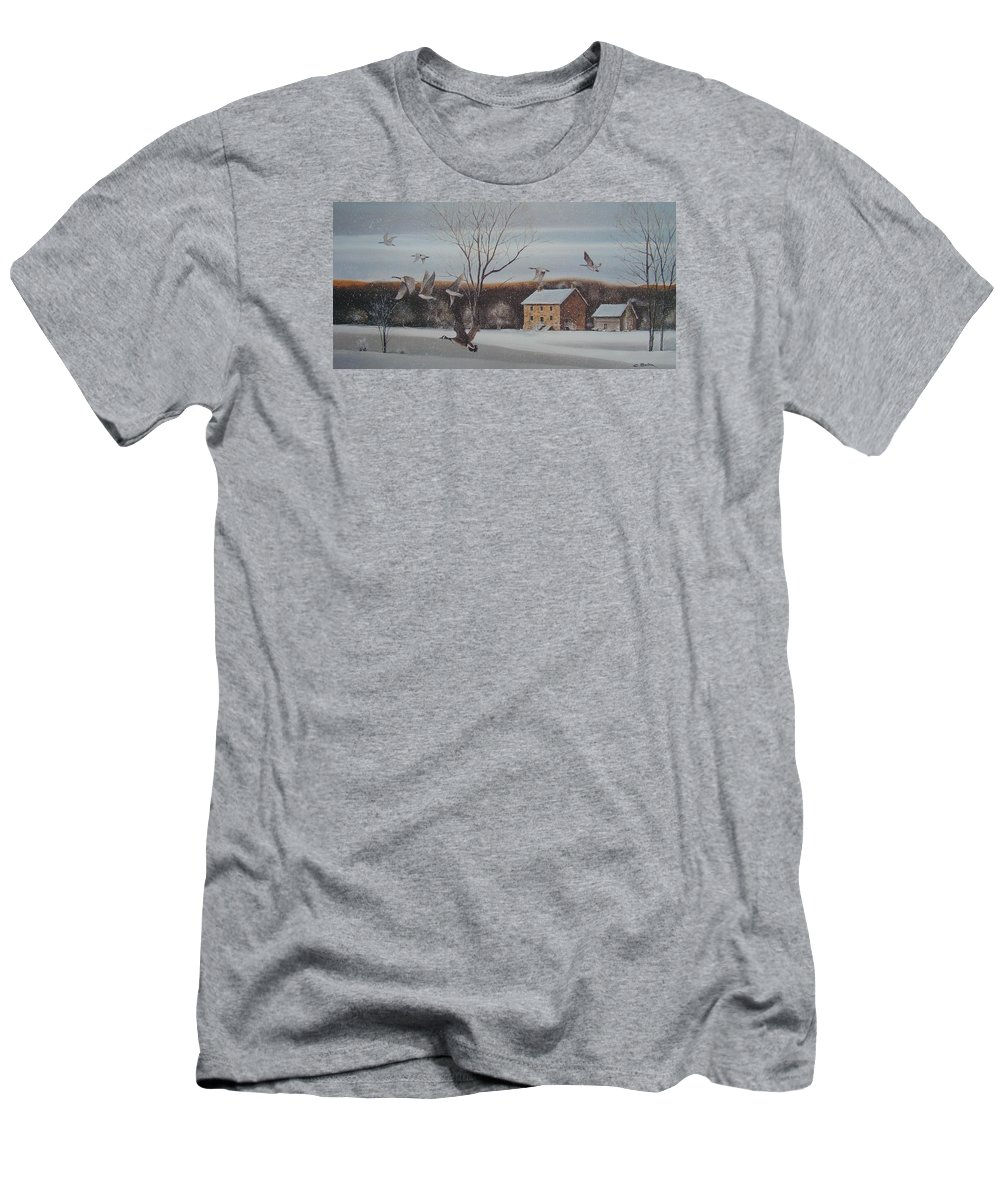 Charles Roy Smith Men's T-Shirt (Athletic Fit) featuring the painting Hezakiah Alexander House by Charles Roy Smith