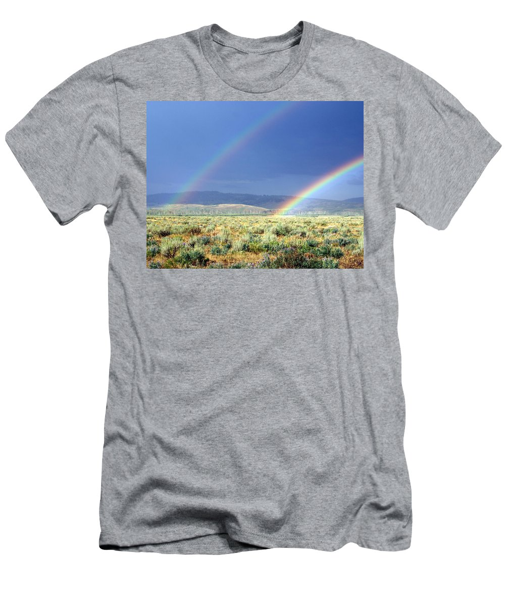 Rainbow Men's T-Shirt (Athletic Fit) featuring the photograph High Dessert Rainbow by Marty Koch