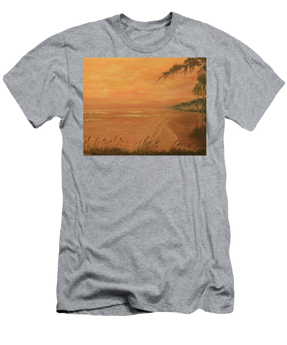 Beach; Ocean; Palm Trees; Water Men's T-Shirt (Athletic Fit) featuring the painting High Tide by Ben Kiger