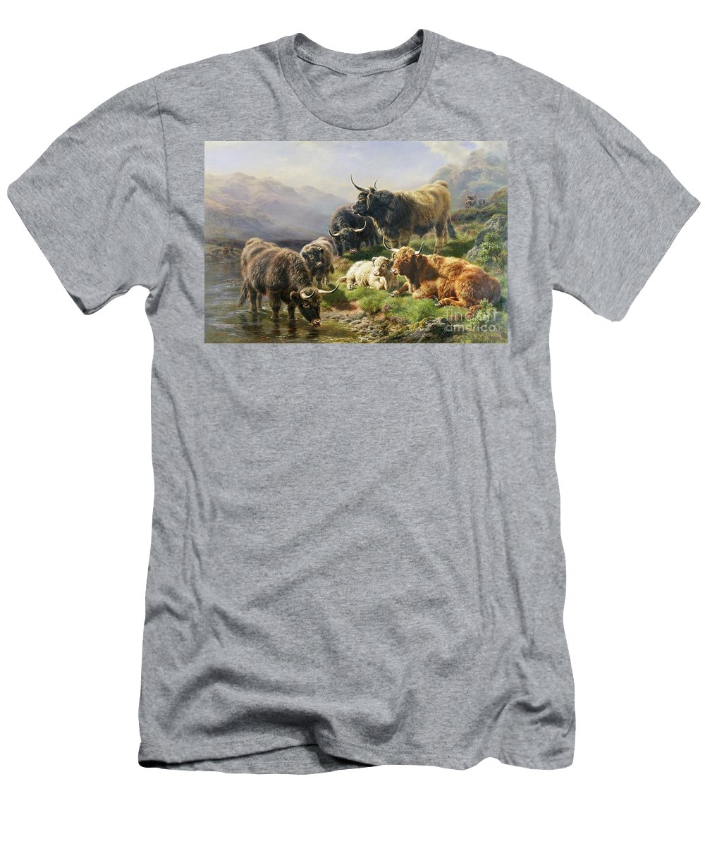 Highland Men's T-Shirt (Athletic Fit) featuring the painting Highland Cattle by William Watson