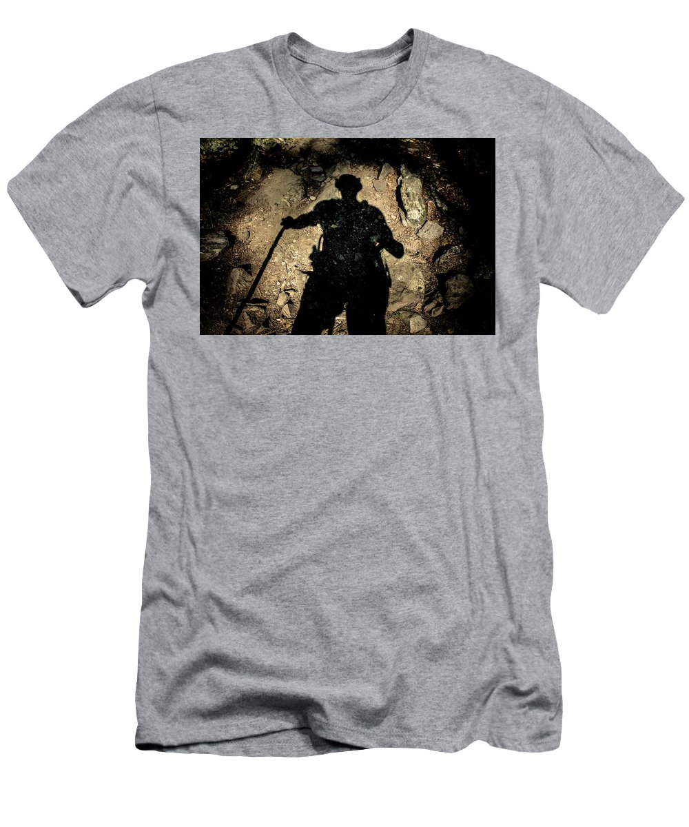 Shadow Men's T-Shirt (Athletic Fit) featuring the photograph Hikers Shadow by Eduardo Gil