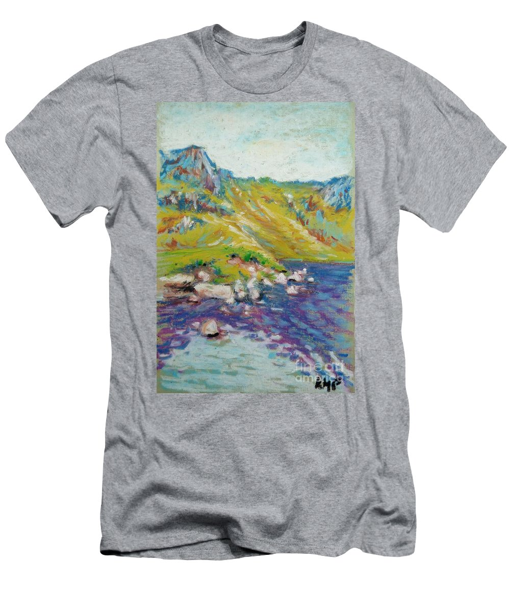 Landscape Men's T-Shirt (Athletic Fit) featuring the pastel Hiking Near Windermere by K M Pawelec