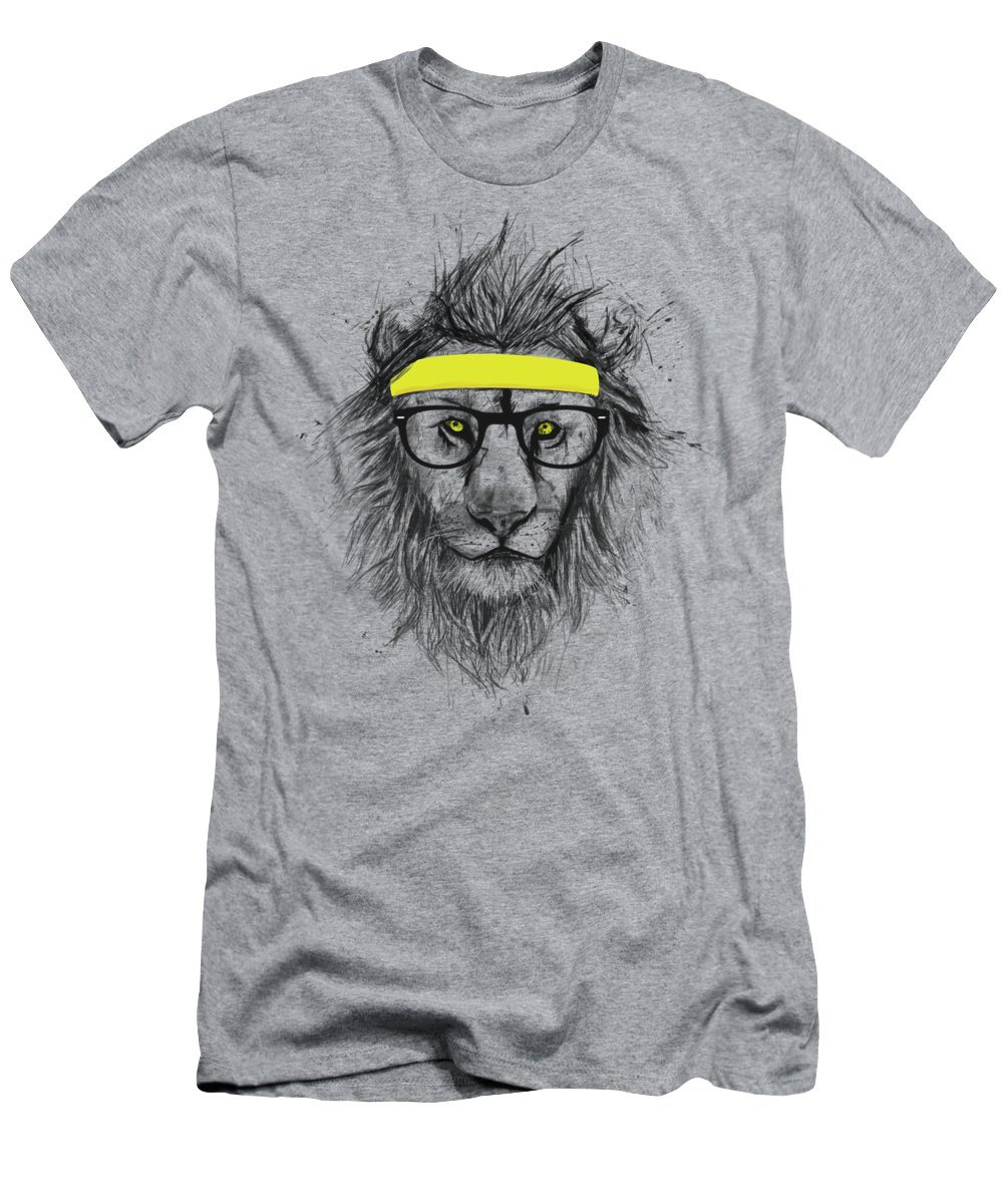 Lion T-Shirt featuring the drawing Hipster Lion by Balazs Solti