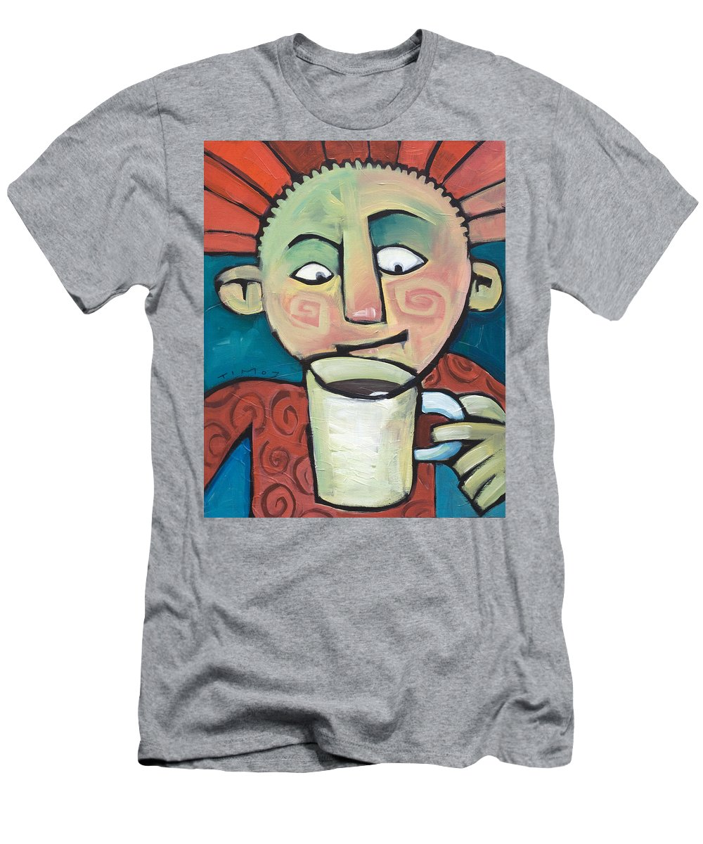 Smile Men's T-Shirt (Athletic Fit) featuring the painting His Coffee Spoke To Him by Tim Nyberg