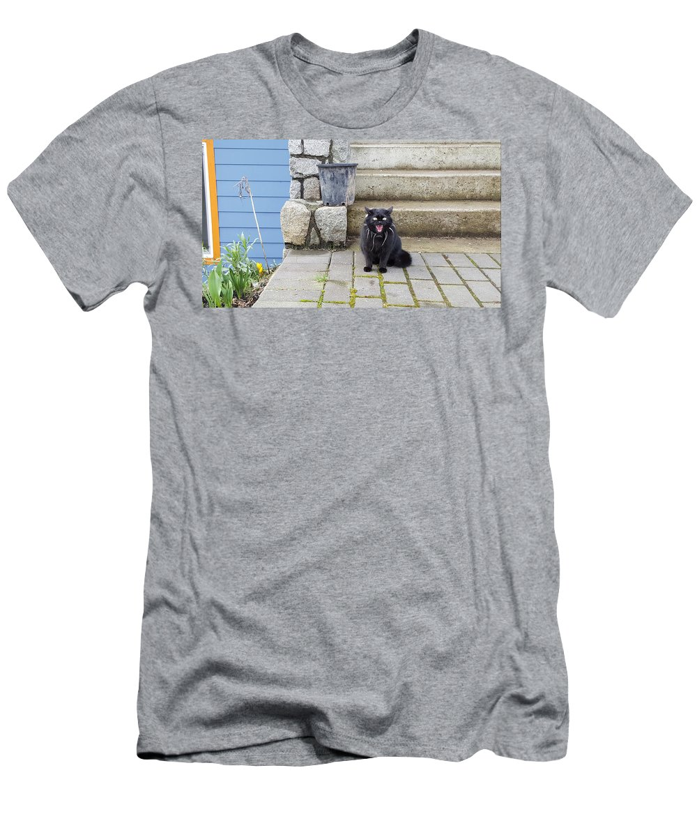 Cat Men's T-Shirt (Athletic Fit) featuring the painting Hissing Cat by Michael Madi