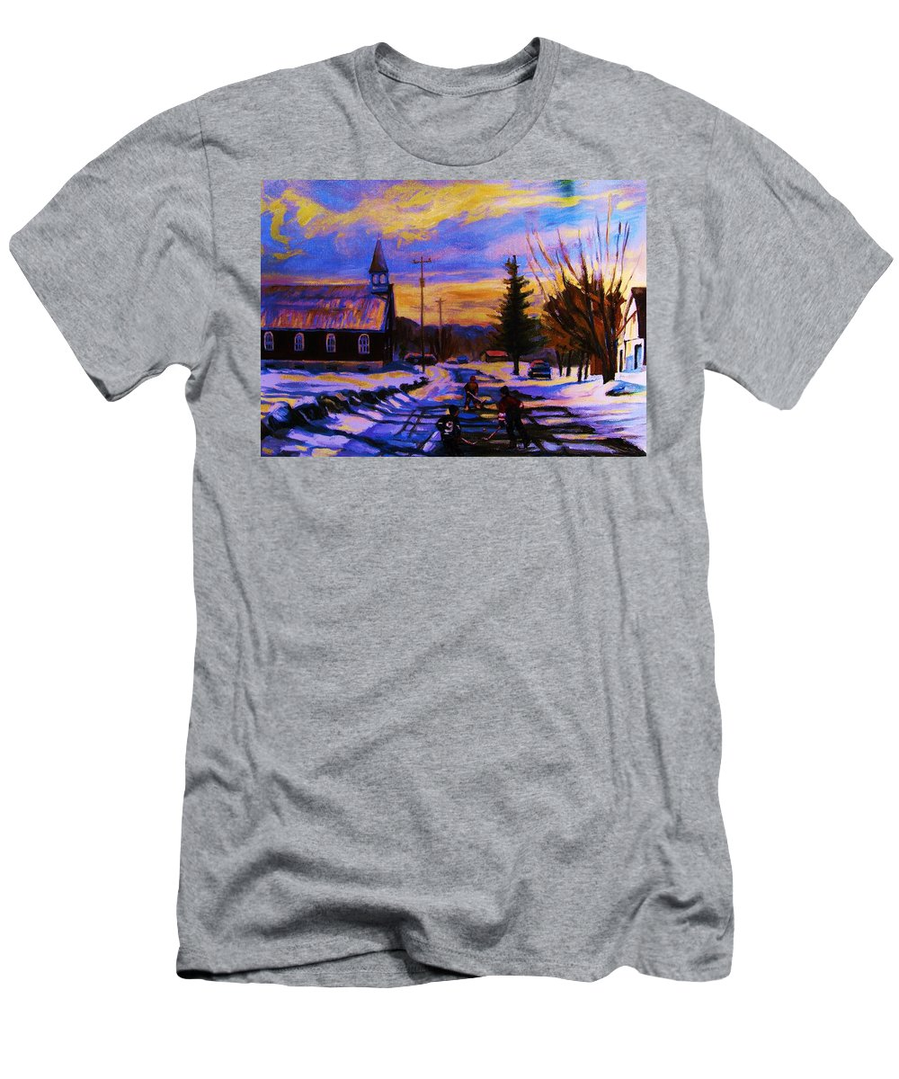 Montreal Men's T-Shirt (Athletic Fit) featuring the painting Hockey Game In The Village by Carole Spandau