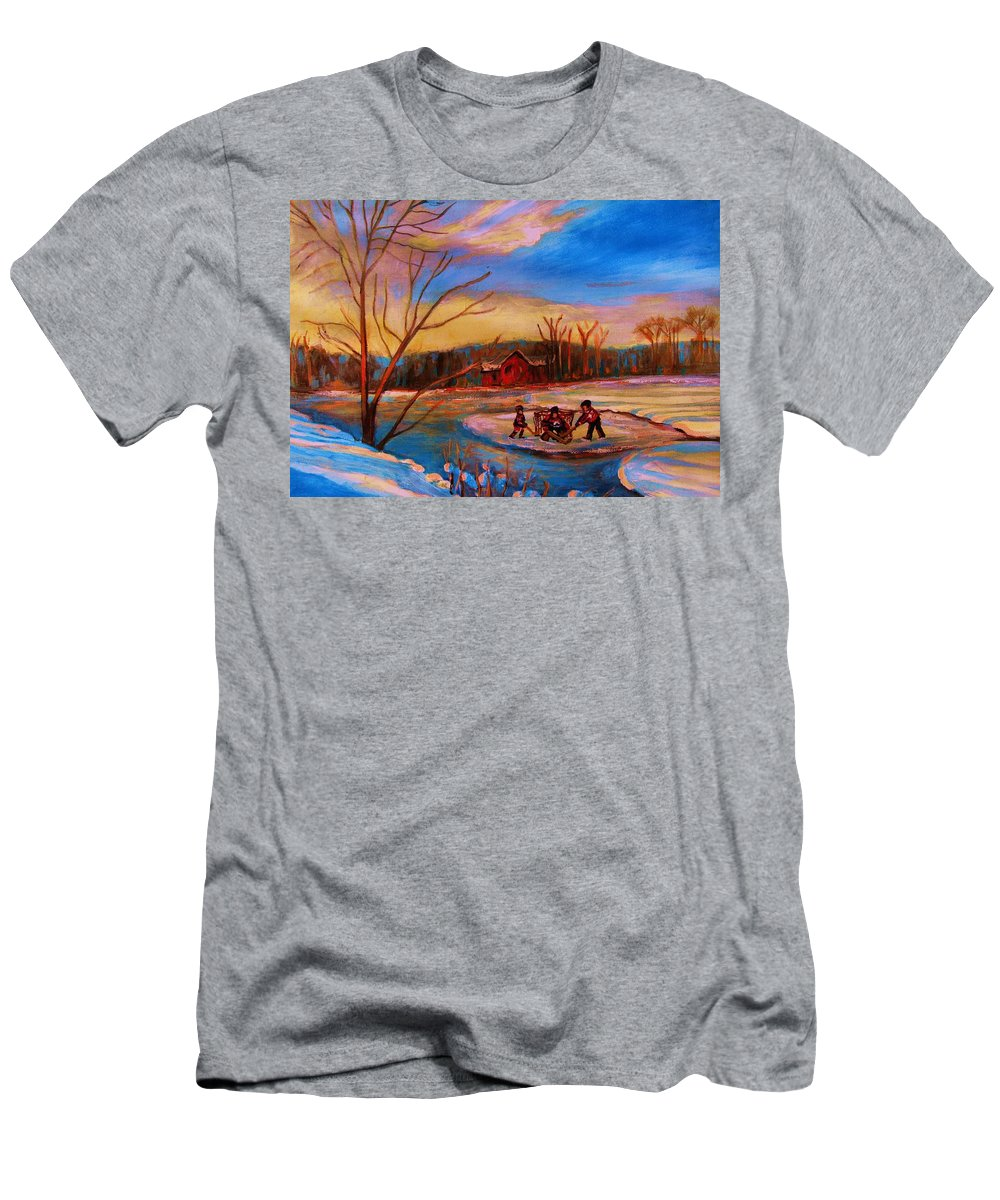Pond Hockey Men's T-Shirt (Athletic Fit) featuring the painting Hockey Game On Frozen Pond by Carole Spandau