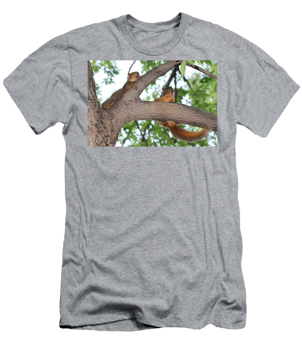 Squirrel Men's T-Shirt (Athletic Fit) featuring the photograph Hold On by Lori Tordsen