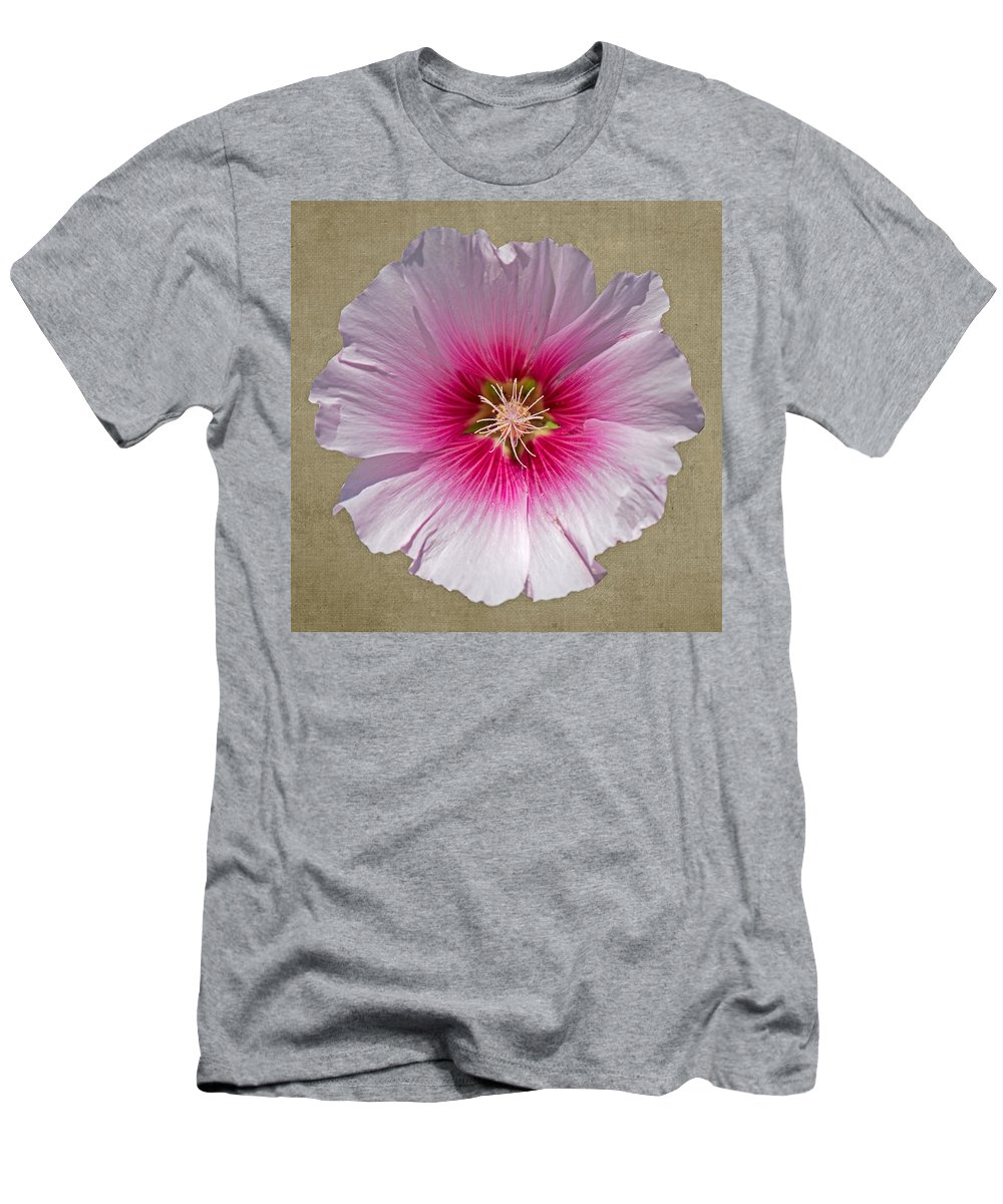 Flower Men's T-Shirt (Athletic Fit) featuring the photograph Hollyhock On Linen 2 by Roy Pedersen