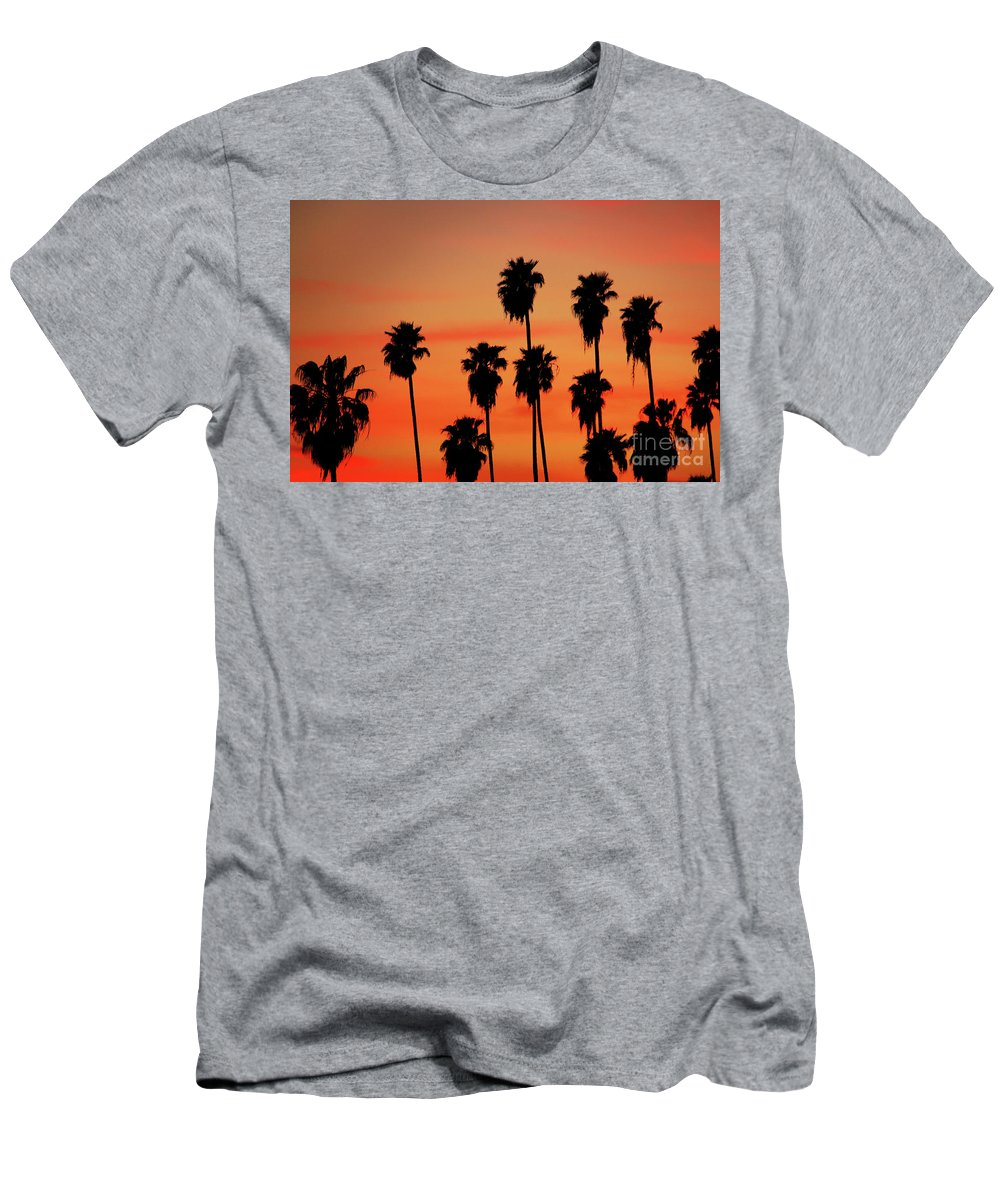 Hollywood Sunset Men's T-Shirt (Athletic Fit) featuring the photograph Hollywood Sunset by Mariola Bitner