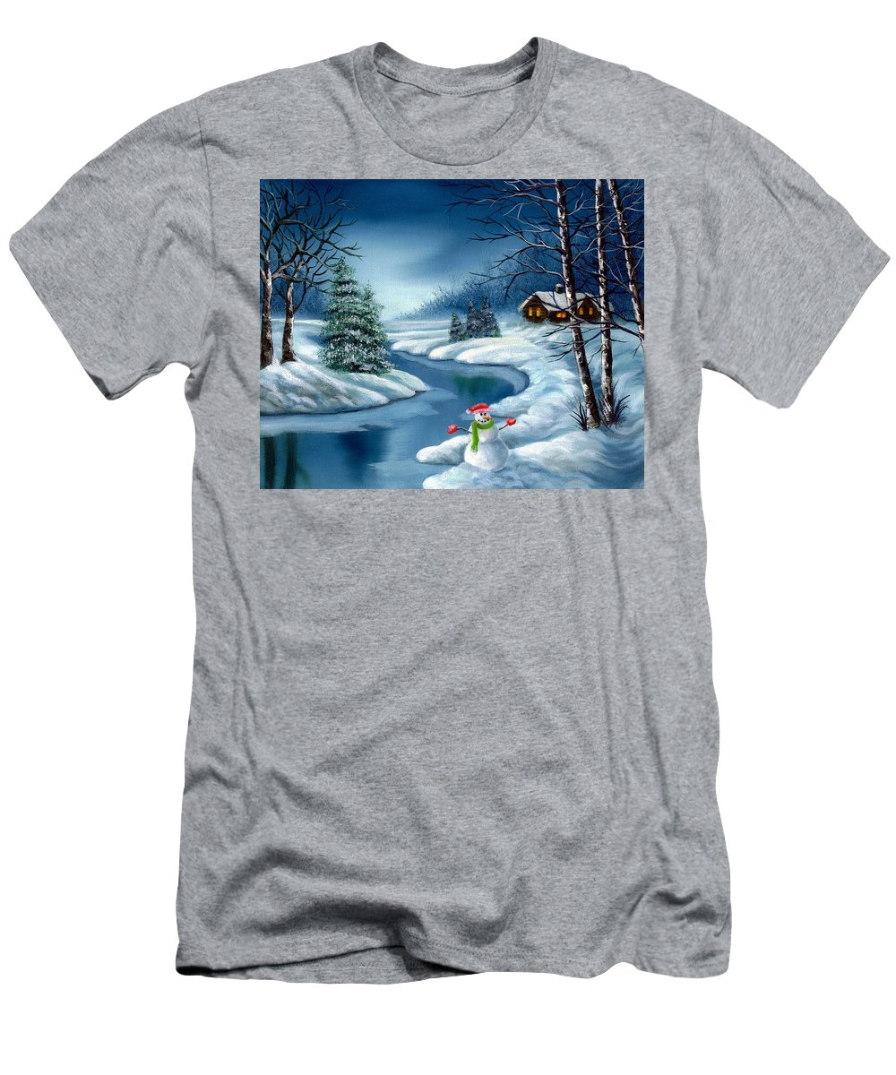 Holidays Men's T-Shirt (Athletic Fit) featuring the painting Home For The Holidays by Daniel Carvalho
