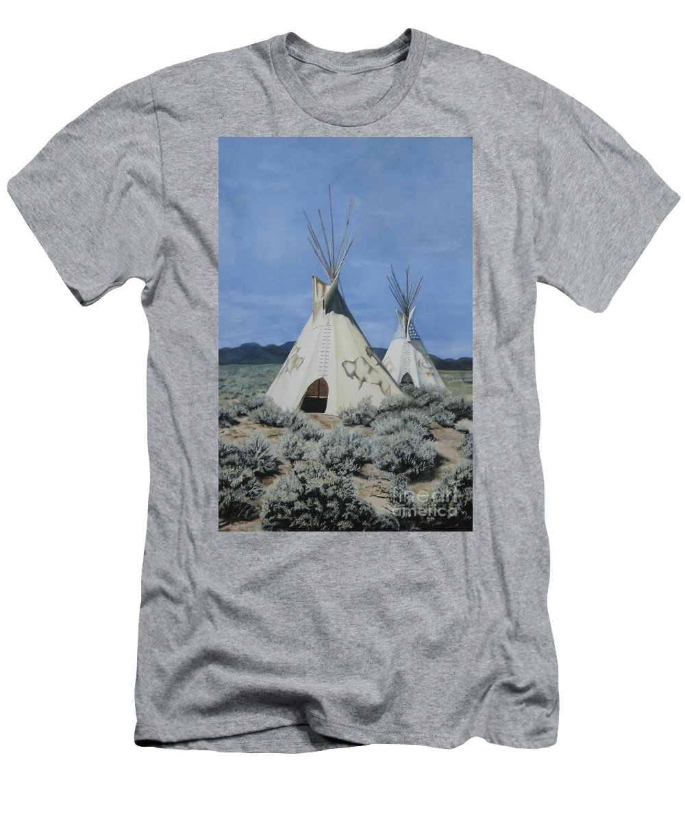 Art Men's T-Shirt (Athletic Fit) featuring the painting Home On The Range by Mary Rogers