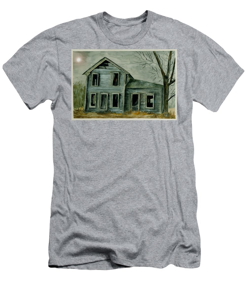 Landscape Watercolor House Ruin Moon Trees Sky Men's T-Shirt (Athletic Fit) featuring the painting Home Sweet Home by Brenda Owen
