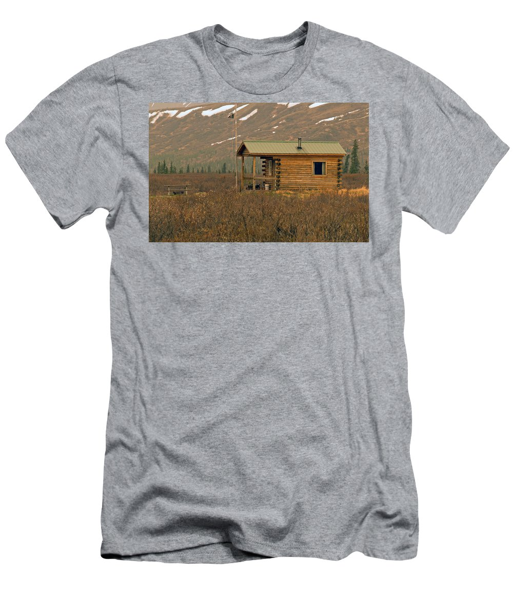 Log Cabin Men's T-Shirt (Athletic Fit) featuring the photograph Home Sweet Fishing Home In Alaska by Denise McAllister